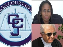 CCJ logo with lawyer Cara Shillingford and Anthony Astaphan SC