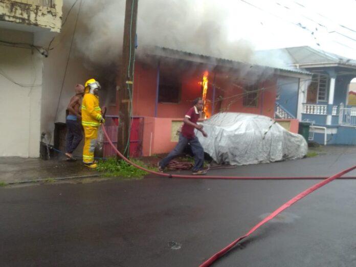 Fire Officers battle fire in Newtown
